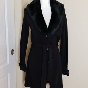 Daisy Fuentes sweater jacket with removable fur